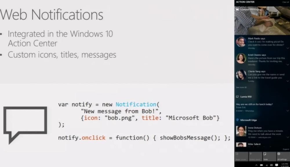 Ο Microsoft Edge μπορεί να εμφανίζει στο Action Center και ειδοποιήσεις από ιστοσελίδες.