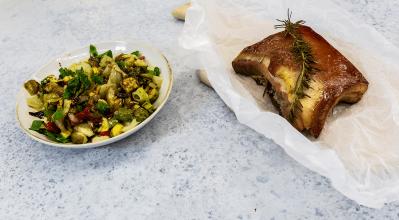 Πανσέτα ψητή με σαλάτα λαχανικών – Κουζίνα: Μαζί με τον Ανδρέα και την Ελένη