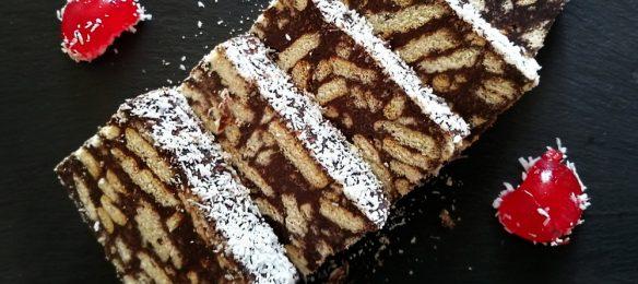 Κορμός σοκολάτας με καφέ, ινδοκάρυδο και μπισκότα